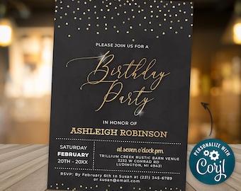 Birthday Party Invitation Elegant Invite Black and Gold Sparkle Glitter Confetti Birthday Party Digital INSTANT DOWNLOAD Editable BPGG