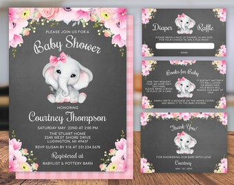 Pink Girl Elephant Baby Shower Invitation Set - Diaper Raffle, Books for Baby, Thank You Card - Instant Download Editable PEBS1