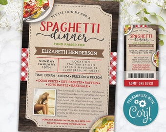 Spaghetti Dinner Fundraiser Benefit Community Church or School Event Poster, Ticket, Invite INSTANT DOWNLOAD Personalize Editable Printable