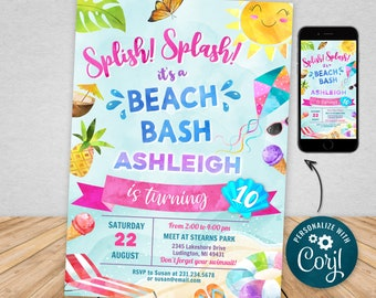 Digital and Printable Beach Party Invitation Beach Theme Party & Evite Electronic Invite, with Thank You, Editable Instant Download BPTY