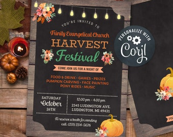 Fall Harvest Festival Invitations Rustic Church Autumn Party Event Invite INSTANT DOWNLOAD Lights Chalk Personalize Editable Printable