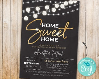 Housewarming Invitation Home Sweet Home New House Invite Couples Party black and Gold 5x7 INSTANT DOWNLOAD Digital Printable & Editable