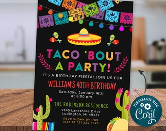 Any Age Taco Bout a Party Invitation - Fiesta Birthday Party Invite Cactus Invite - Chalkboard Digital INSTANT download Editable FST