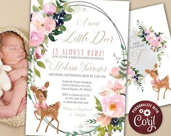 Deer Baby Shower Invitation - Little Deer Baby Shower - Rustic Woodland - Baby Girl - Printable Editable - Pink Flowers & Greenery