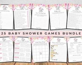 Elephant Baby Shower Games Bundle - Pink Elephant Girl Baby Shower Games Printable - Baby Girl - Editable - PEBS1