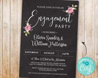 Engagement Invitations Chalk Board Floral Invite INSTANT DOWNLOAD Engaged Vintage Flowers  Rustic Pink Personalize Editable Printable Design