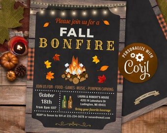 Editable Fall Backyard Bonfire Autumn Party Event Invitation INSTANT DOWNLOAD 5x7 Personalize Printable