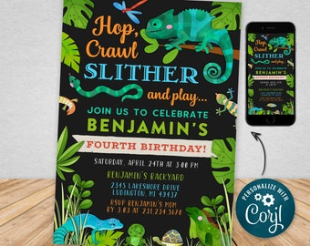 Digital and Printable Reptile Birthday Party Invitation, Printable and  Evite Electronic Invite, Editable Personalized RBP