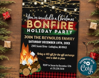 Christmas Bonfire Invitation, Christmas Party Invite, Holiday Party Invitation, Glitter Rustic Chalk Invitation - INSTANT DOWNLOAD Editable