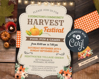 Fall Harvest Festival Invitations Rustic Community Autumn Party Event Invite INSTANT DOWNLOAD 5x7, 4x6 Floral Personalize Editable Printable