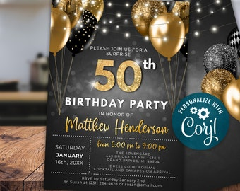 50th Birthday Invitation FIFTY Party Black Gold Glitter Sparkle Balloons Digital Instant Download 5x7 Printable Editable BGB