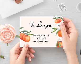 A Little Cutie is on the Way Editable Thank You Card - Thank You Card for Clementine Orange Baby Shower - Citrus Baby Shower BS13