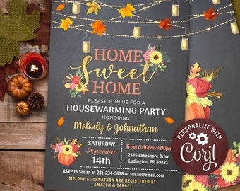 Rustic Fall Housewarming Party Invitation, Home Sweet Home Pumpkin Invitation INSTANT DOWNLOAD Digital Printable & Editable