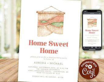 Housewarming Party Invitation Rustic Boho Home Sweet Home New House Invite Macrame INSTANT DOWNLOAD Digital Printable & Editable HWP15