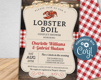 Lobster Boil Invitation, Seafood Couple's Shower Invite, Engagement Invitations, Corjl, Instant Download, Printable Invitations
