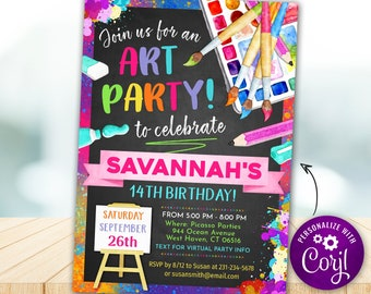 Paint Party Invitation, Paint Party Invitation Kids, Painting Party Invite, Digital INSTANT DOWNLOAD - Editable