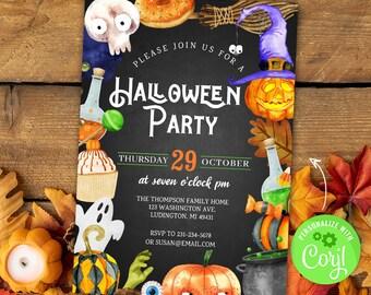 Halloween Party Invites, Cute Halloween Invite, Kids Halloween Party Invitation, INSTANT DOWNLOAD Editable