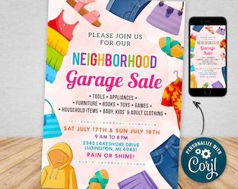 Yard Sale Printable Garage Sale Flyer Template PTA PTO - Church School Fundraiser - Neighborhood Rummage Sale Event Poster