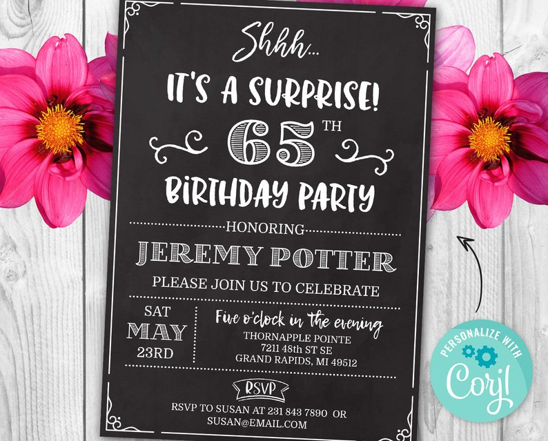 Surprise 65th Birthday Invitation SIXTY FIVE Invite Party