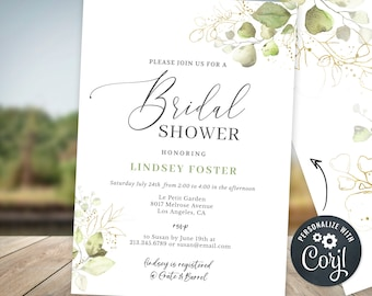 Bridal Shower Invitation Template - Subtle Gold & Greenery Eucalyptus Editable Invite Template - INSTANT DOWNLOAD BS5
