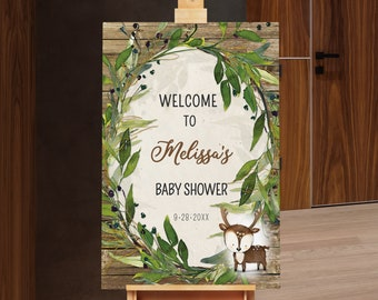 Deer Baby Shower Welcome Sign - Little Deer Baby Shower - Rustic Woodland - Baby Boy - Little Buck - Printable Editable - WBS7