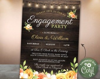 Engagement Party Invite INSTANT DOWNLOAD Engagement Invite Rustic Wood Yellow Flowers Personalize Editable Printable