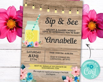 Sip and See Invitations Baby Shower Invites Cute Lemonade Mason Jar INSTANT DOWNLOAD Peach Pink Party Rustic Floral Flowers Customize