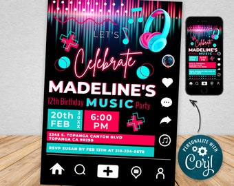 Digital and Printable Music Party Invitation, Dance Party Invitation, Social Media Party, Editable Personalized Teen Birthday Invitation MPT
