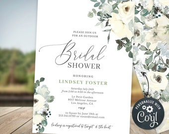 Outdoor Bridal Shower Invitation Template, Outside Invite, Ivory Rose Floral Greenery, Bridal Shower Printable INSTANT DOWNLOAD BS7