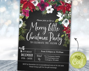 Christmas Party Invitation Holiday Party Invitation, Christmas Party Invite, Rustic Pointsettia Winter Chalk Board INSTANT DOWNLOAD Editable