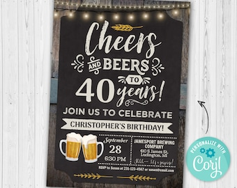 40th Cheers and Beers Birthday Party Invitation FORTY Chalkboard & Wood Digital INSTANT Download 5x7 Editable adult mens male boy guys