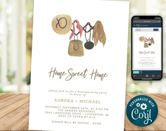 Housewarming Party Invitation Rustic Boho Home Sweet Home New House Invite INSTANT DOWNLOAD Digital Printable & Editable