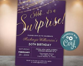 Surprise Birthday Invitation Invite Party Plum Purple & Gold Invitation Glitter  Invite Digital INSTANT download Editable Adult Womans