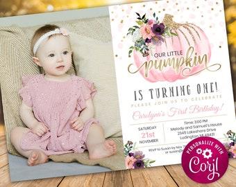 1st Birthday Invite - Pumpkin - Little Pumpkin Birthday Invitation - Little Pumpkin Photo Invitation - Digital INSTANT DOWNLOAD - Editable