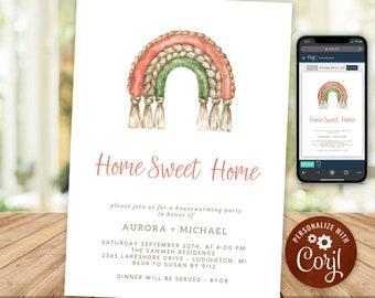 Housewarming Party Invitation Rustic Boho Home Sweet Home New House Invite Macrame Rainbow INSTANT DOWNLOAD Digital Printable & Editable