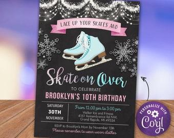 Ice Skating Birthday Invitation - Ice Skating Birthday Party Invite - Pink - Digital INSTANT DOWNLOAD Personalize Customize Printable Corjl