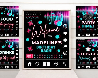Music Party Signs, Dance Party Signs, Editable Personalized Teen Birthday Party Signs MPT