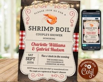Shrimp Boil Invitation, Seafood Couple's Shower Invite, Engagement Invitations, Corjl, Instant Download, Printable Invitations CS5B