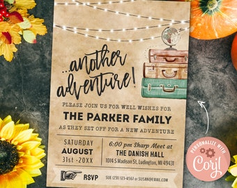 Going Away Party Invitation, Farewell Party Invite, Moving Party Invite, Bon Voyage Party 5x7 INSTANT DOWNLOAD Digital Printable & Editable