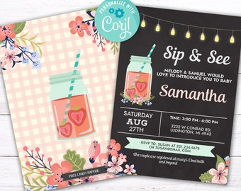 Sip and See Invitations Baby Shower Invites Cute Strawberry Mason Jar Chalk INSTANT DOWNLOAD Peach Pink Party Rustic Floral Flower Customize