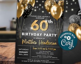 60th Birthday Invitation SIXTY Party Black Gold Glitter Sparkle Balloons Digital Instant Download 5x7 Printable Editable BGB