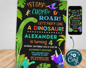 Digital and Printable Dinosaur Birthday Invitation, Dinosaur Party Printable and Evite Electronic Invite, Editable Personalized DNOP
