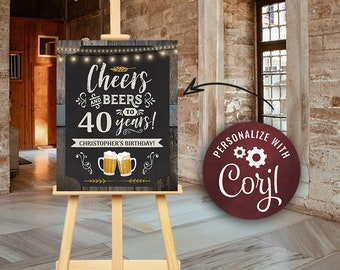 Cheers and Beers Birthday Party Welcome Sign Poster Any Age Chalkboard & Wood Digital INSTANT Download Editable adult mens male boy guys