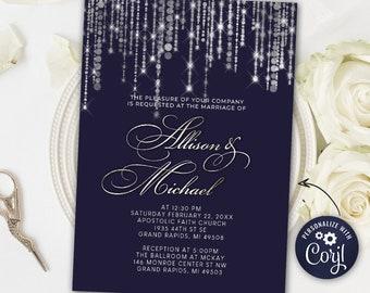 Silver & Navy Blue Invite, Wedding Invitation, Wedding Invite DIY Printable Invitation Sparkly INSTANT DOWNLOAD Personalize Editable