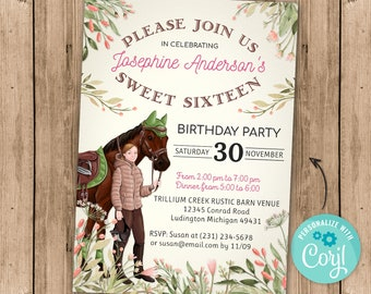 Sweet Sixteen Horse Invitation - English Riding - Country Birthday Party - Girl, Women, Womens - Digital INSTANT DOWNLOAD 5x7 - Editable
