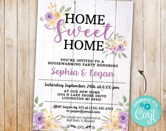 Housewarming Invitation Home Sweet Home Rustic New House Couples Party - Wood Floral Flowers Digital INSTANT Download 5x7 Editable
