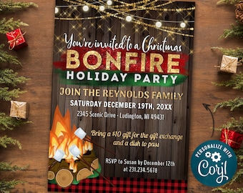 Christmas Bonfire Invitation, Christmas Party Invite, Holiday Party Invitation, Glitter Rustic Winter Invitation - INSTANT DOWNLOAD Editable