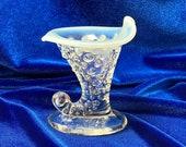 FENTON Art Glass Hobnail White Opalescent Moonstone Cornucopia Vase Authentic Fenton Collectible 1950s Vintage Glass Horn stoneridgeattic