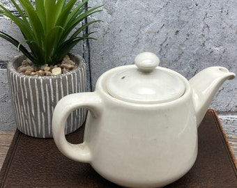 Vintage Hall China Flat Sided Individual Teapot Cream with Sunken Contrasting White Lid