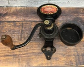 Antique Cast Iron Universal Coffee Mill Coffee Grinder Wooden Handle Wall Mounted Landers, Frary Clark Rustic Farmhouse Vintage Kitchen